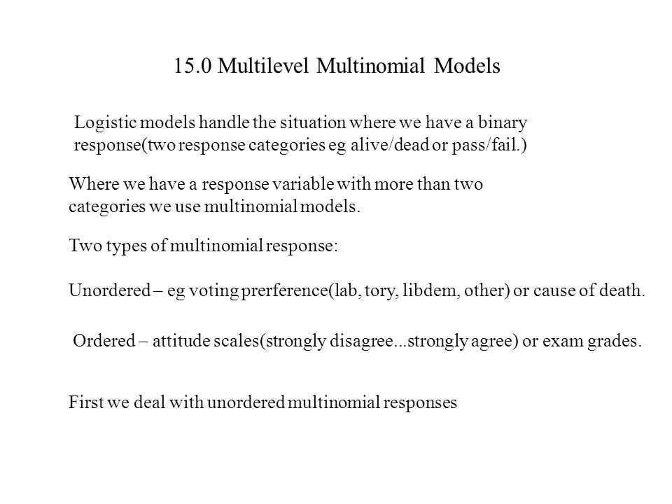 15.0 Multilevel Multinomial Models