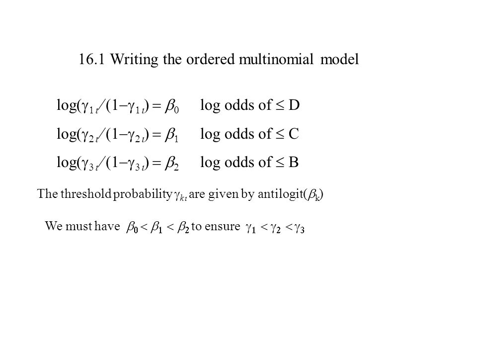 16.1 Writing the ordered multinomial model