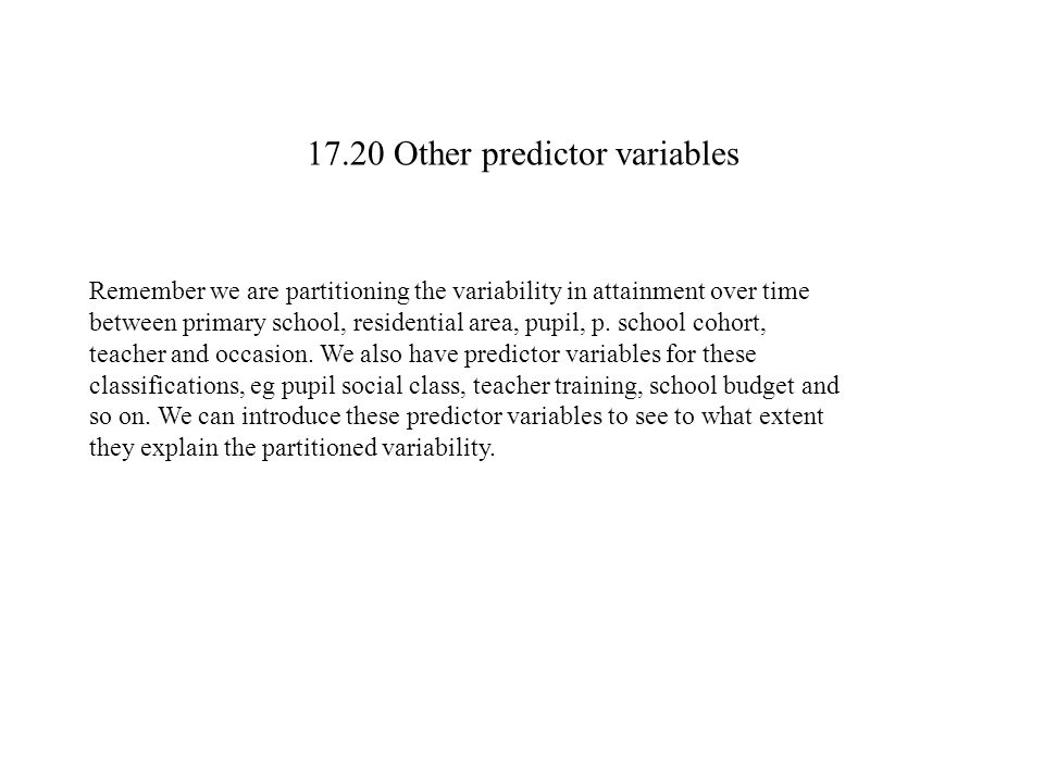 17.20 Other predictor variables