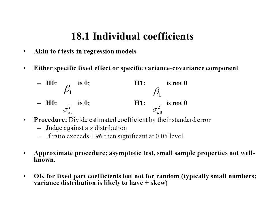 18.1 Individual coefficients