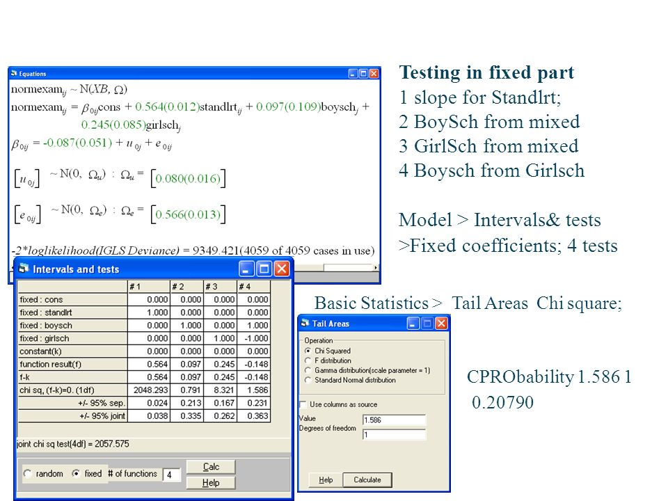 Model > Intervals& tests >Fixed coefficients; 4 tests