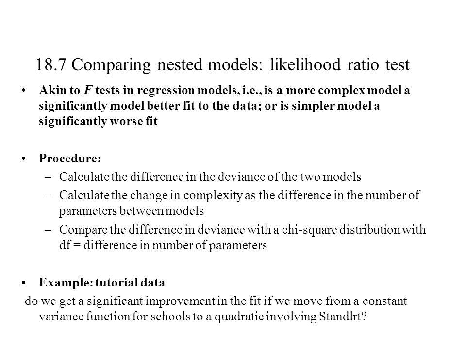 18.7 Comparing nested models: likelihood ratio test