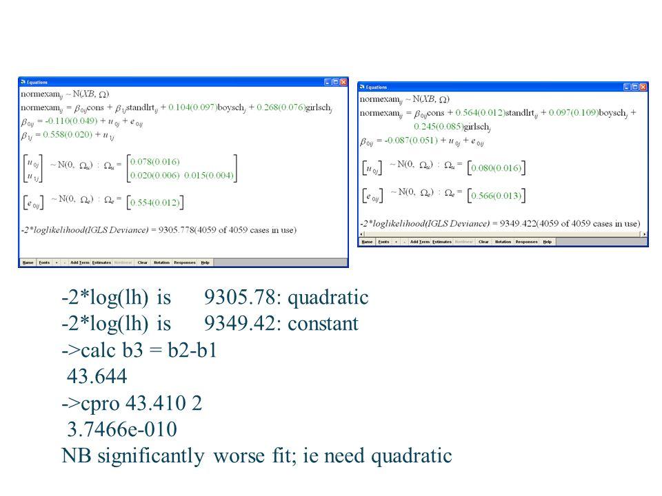 -2*log(lh) is 9305.78: quadratic