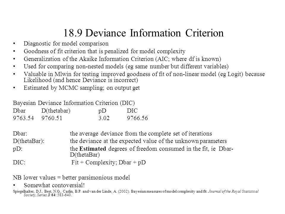 18.9 Deviance Information Criterion