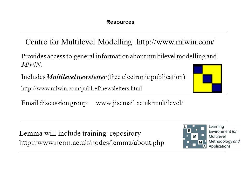 Centre for Multilevel Modelling http://www.mlwin.com/
