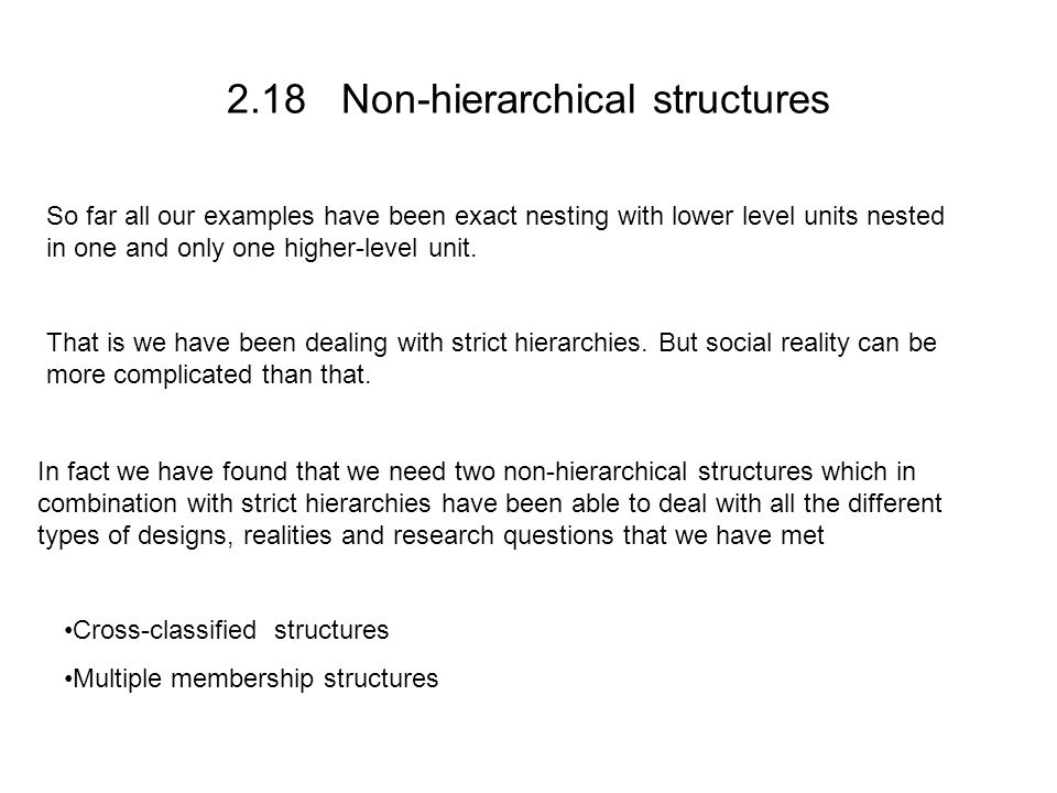 2.18 Non-hierarchical structures