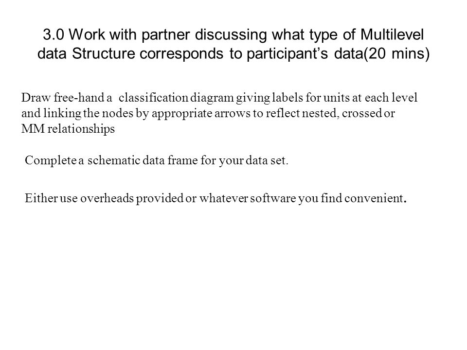 3.0 Work with partner discussing what type of Multilevel data Structure corresponds to participant's data(20 mins)