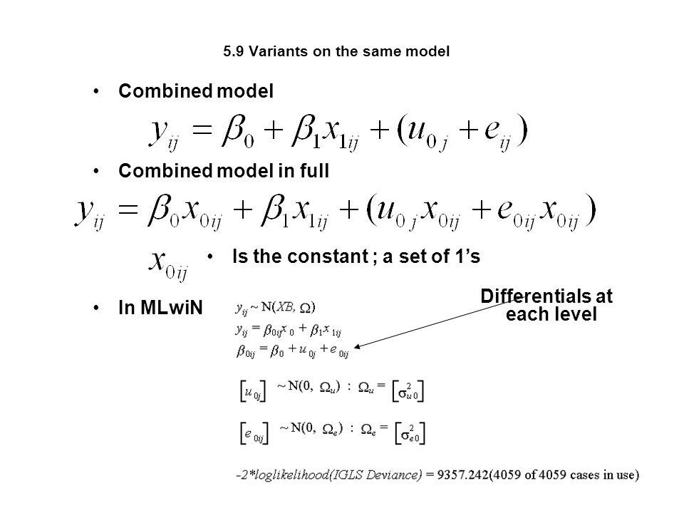 5.9 Variants on the same model