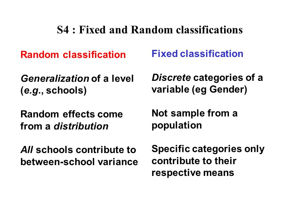 S4 : Fixed and Random classifications