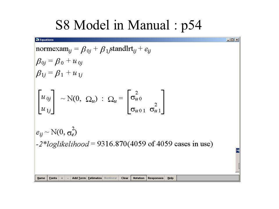 S8 Model in Manual : p54