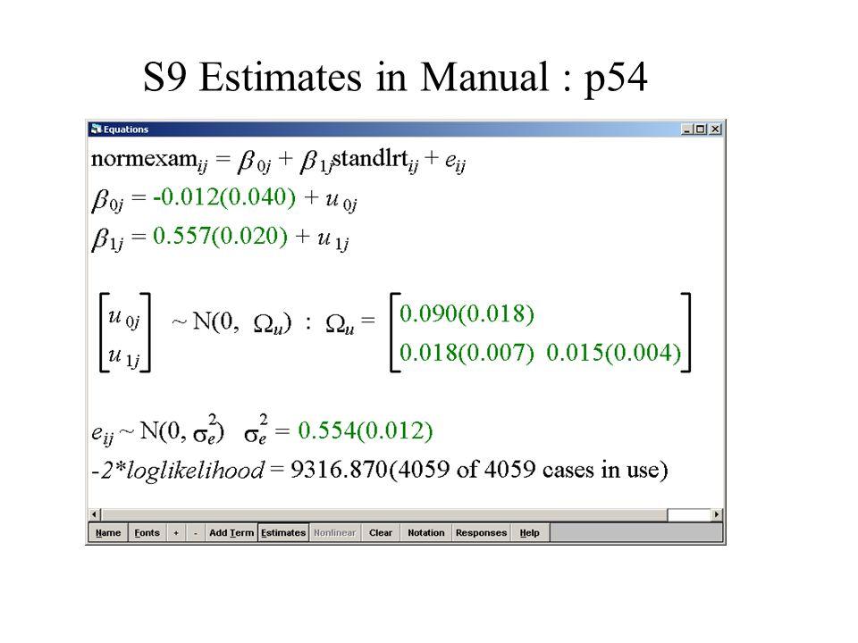 S9 Estimates in Manual : p54