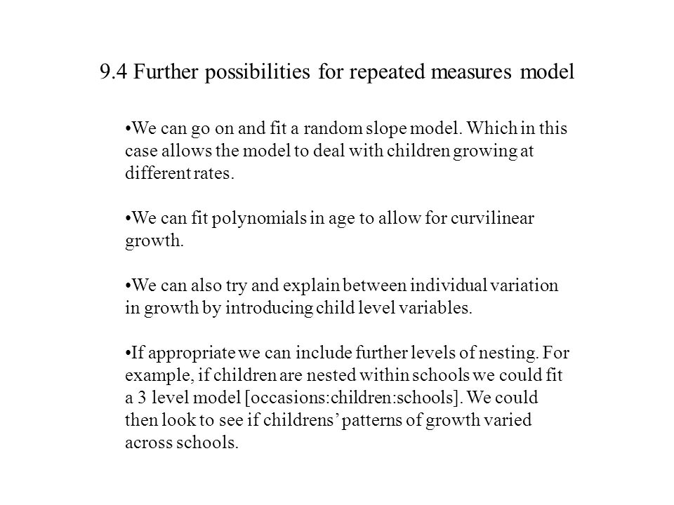 9.4 Further possibilities for repeated measures model