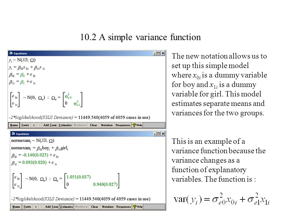 10.2 A simple variance function
