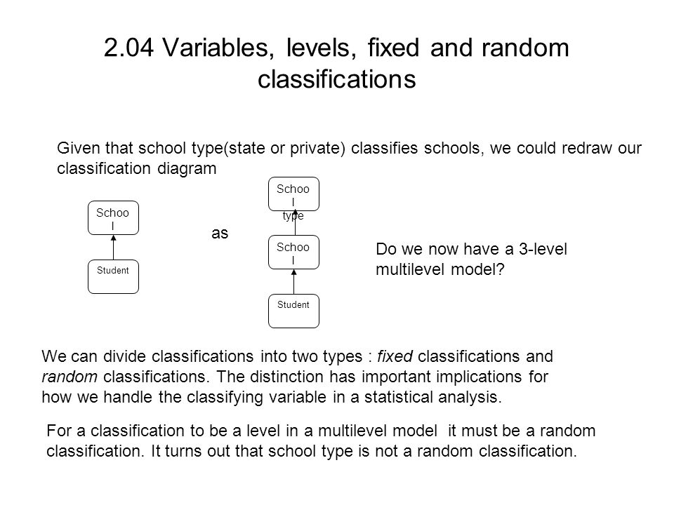 2.04 Variables, levels, fixed and random classifications