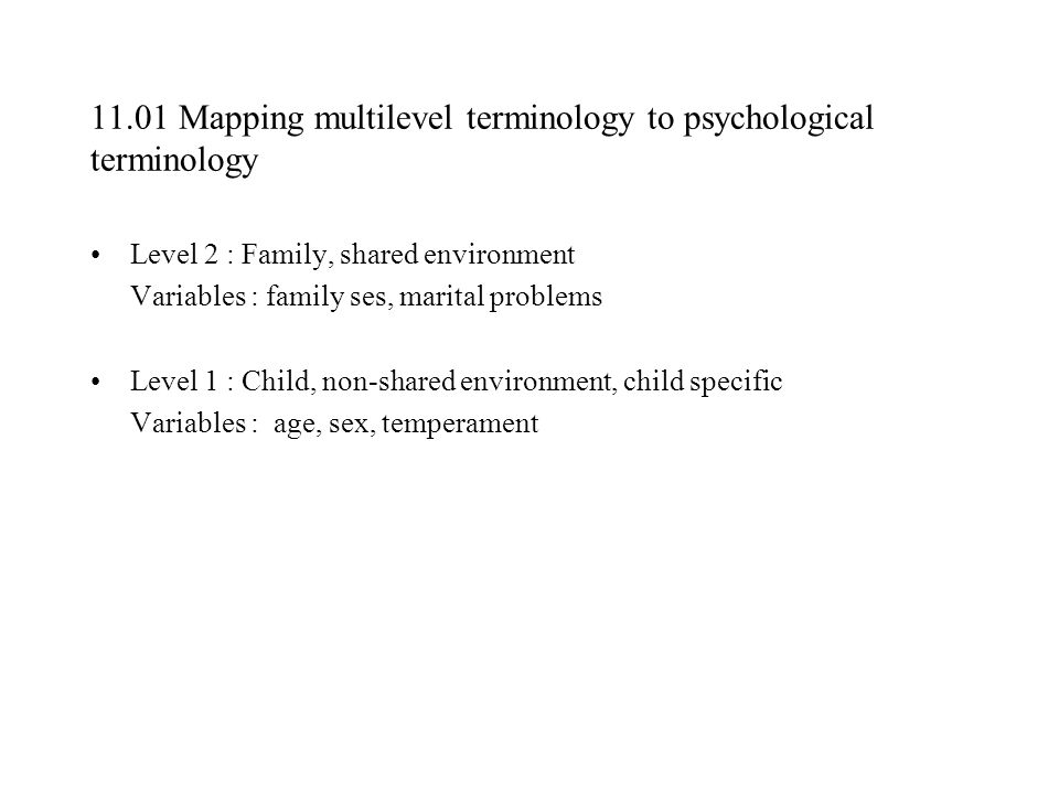 11.01 Mapping multilevel terminology to psychological terminology
