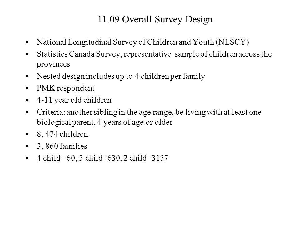 11.09 Overall Survey Design National Longitudinal Survey of Children and Youth (NLSCY)