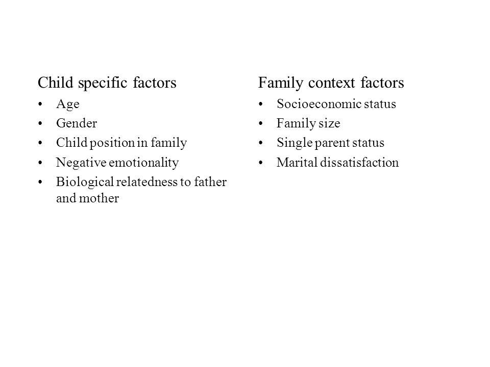 Child specific factors Family context factors