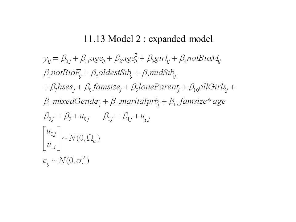 11.13 Model 2 : expanded model