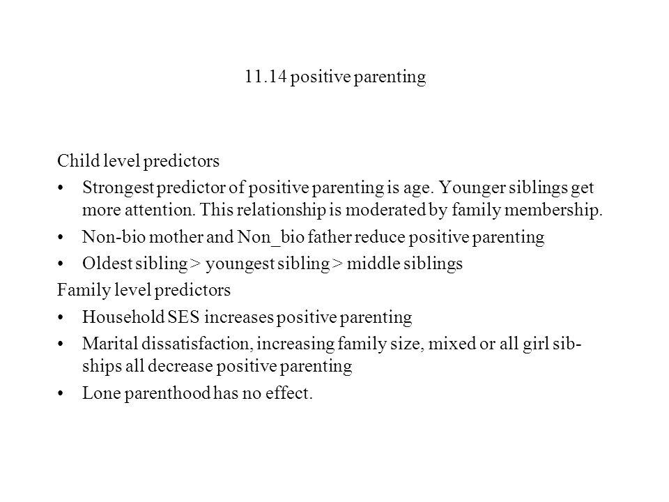 11.14 positive parenting Child level predictors.