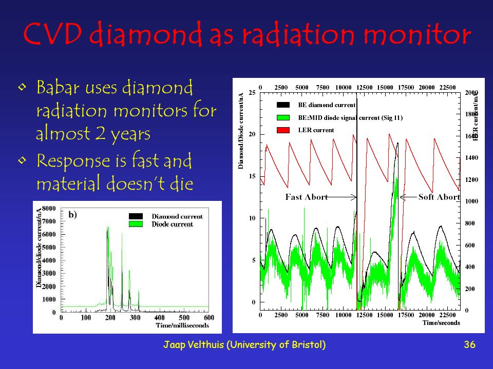 CVD diamond as radiation monitor
