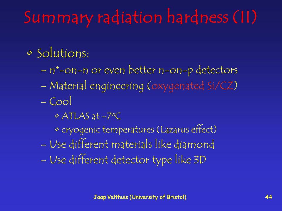 Summary radiation hardness (II)