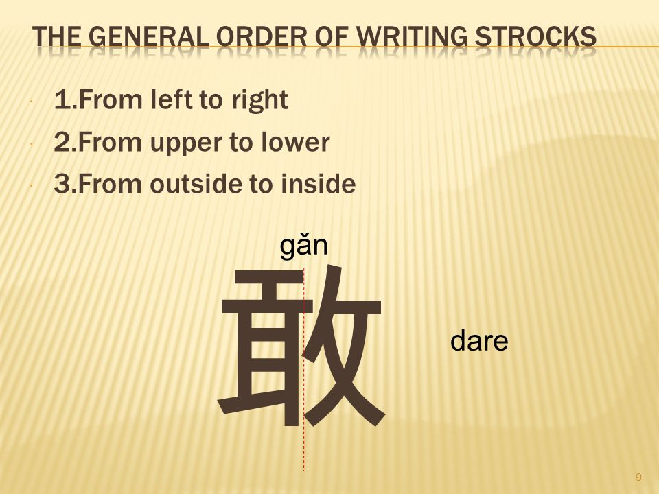 The general order of writing strocks