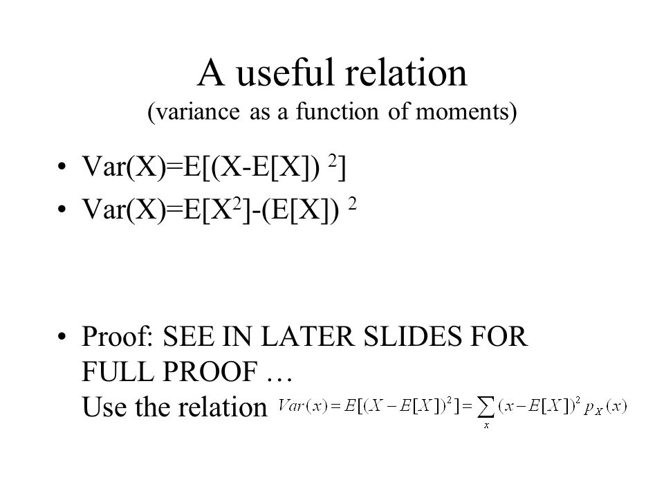 A useful relation (variance as a function of moments)