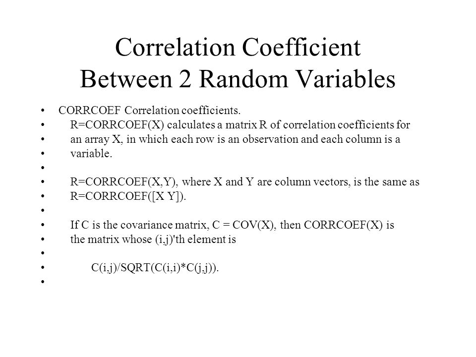 Correlation Coefficient Between 2 Random Variables