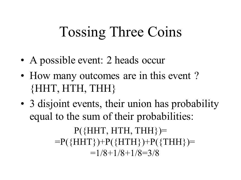 P({HHT, HTH, THH})= =P({HHT})+P({HTH})+P({THH})= =1/8+1/8+1/8=3/8