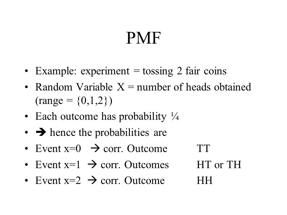PMF Example: experiment = tossing 2 fair coins
