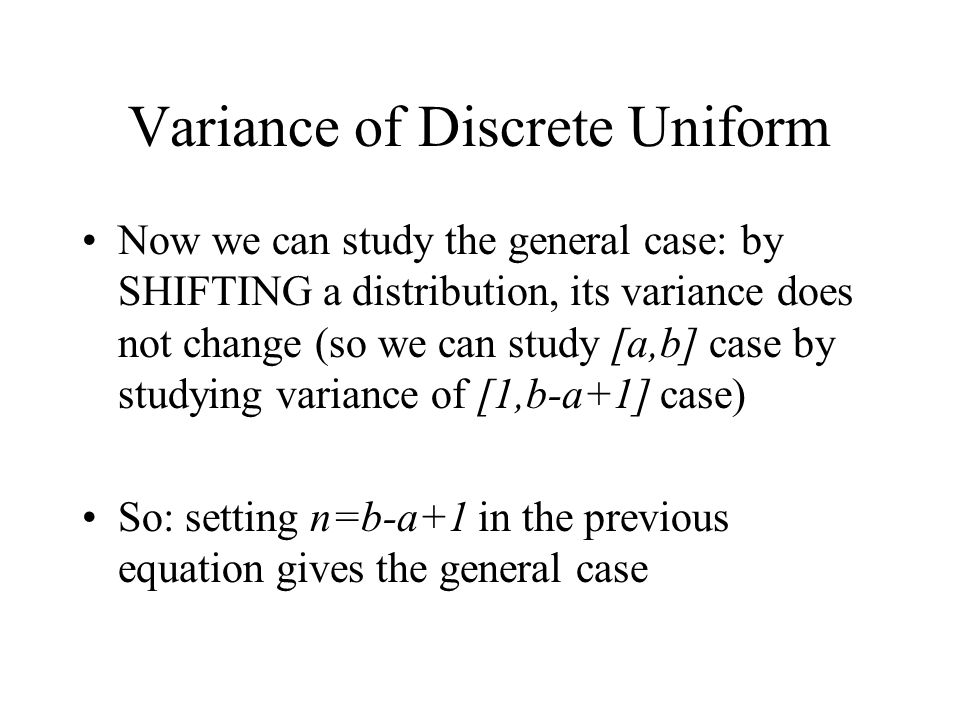 Variance of Discrete Uniform