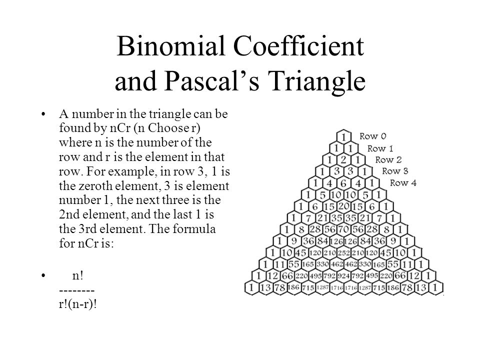 Binomial Coefficient and Pascal's Triangle