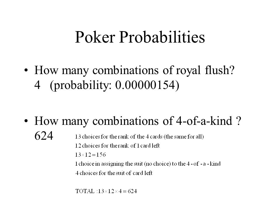 Poker Probabilities How many combinations of royal flush.