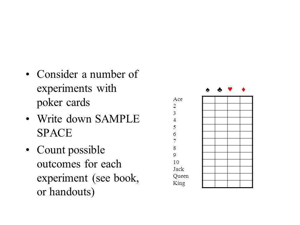 Consider a number of experiments with poker cards