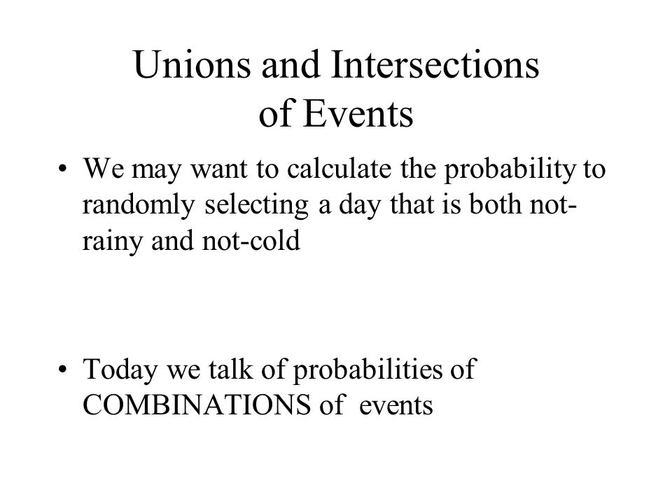 Unions and Intersections of Events
