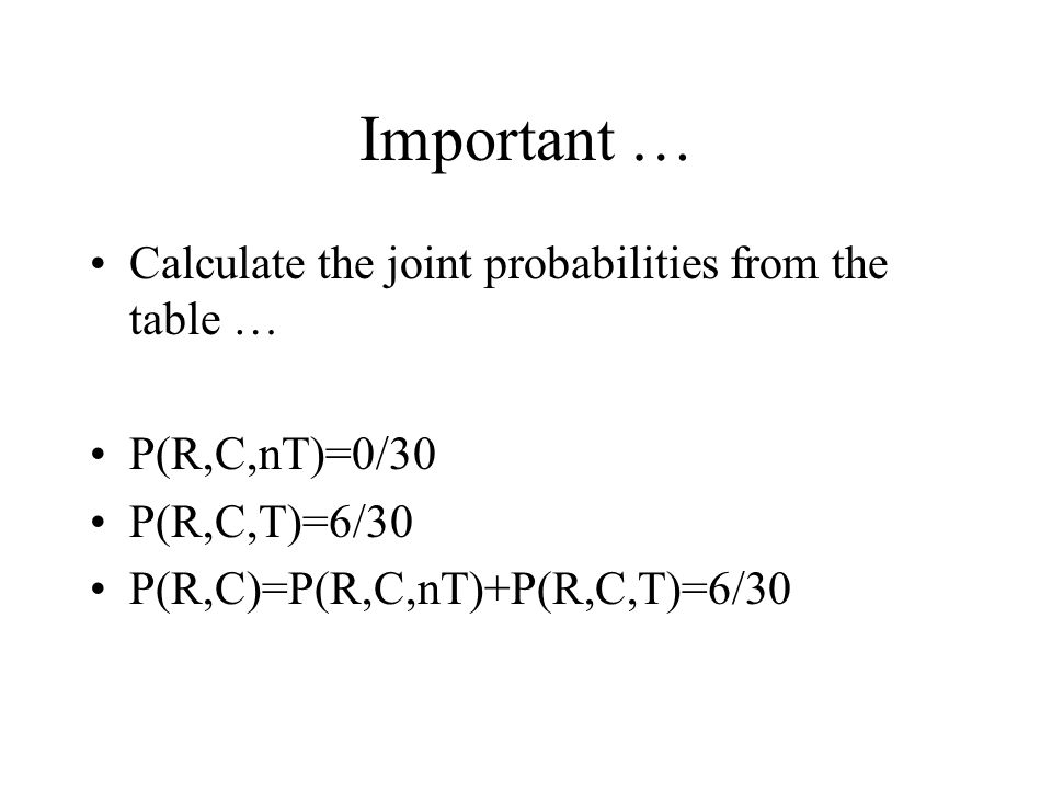 Important … Calculate the joint probabilities from the table …