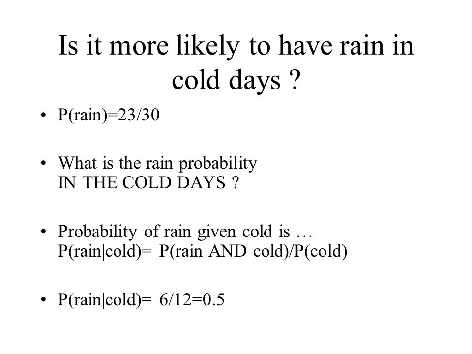 Is it more likely to have rain in cold days