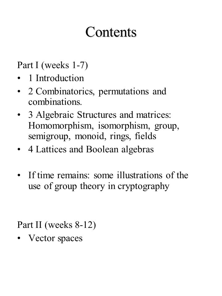 Contents Part I (weeks 1-7) 1 Introduction