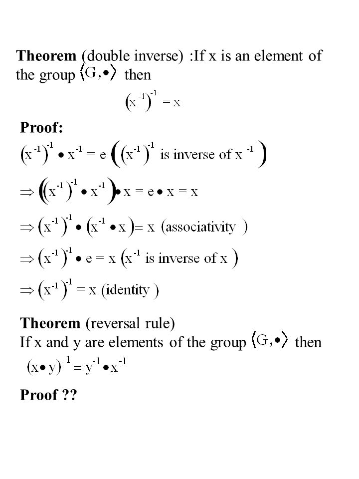 Theorem (double inverse) :If x is an element of