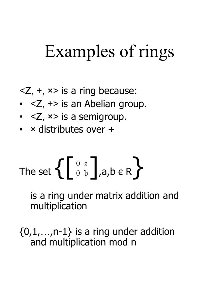 Examples of rings <Z, +, ×> is a ring because: