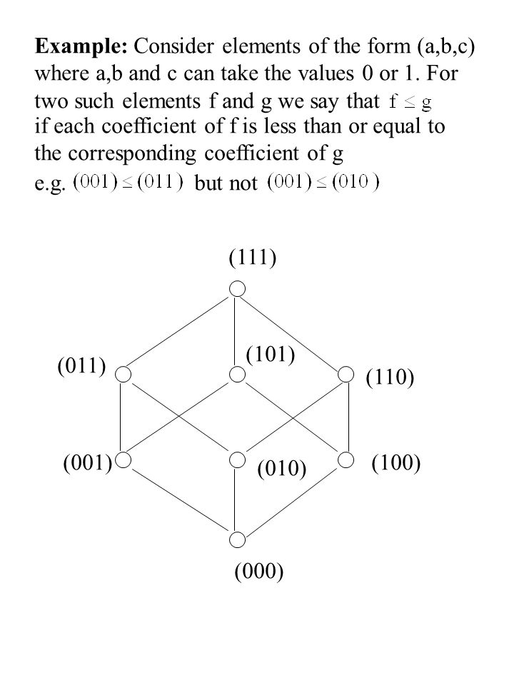 Example: Consider elements of the form (a,b,c)