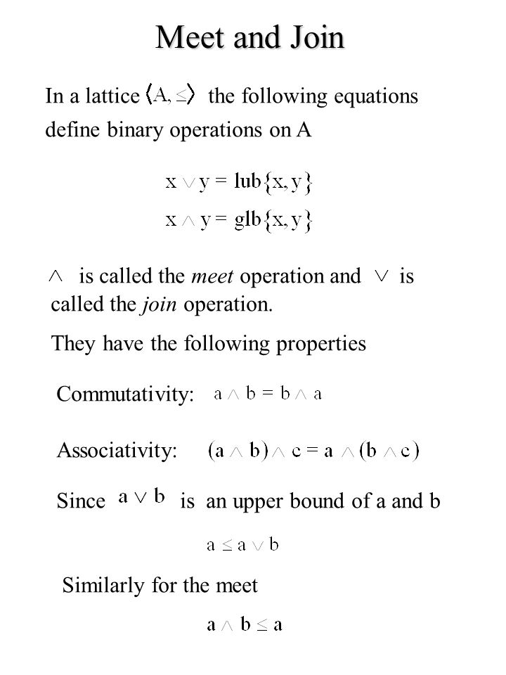 Meet and Join In a lattice the following equations