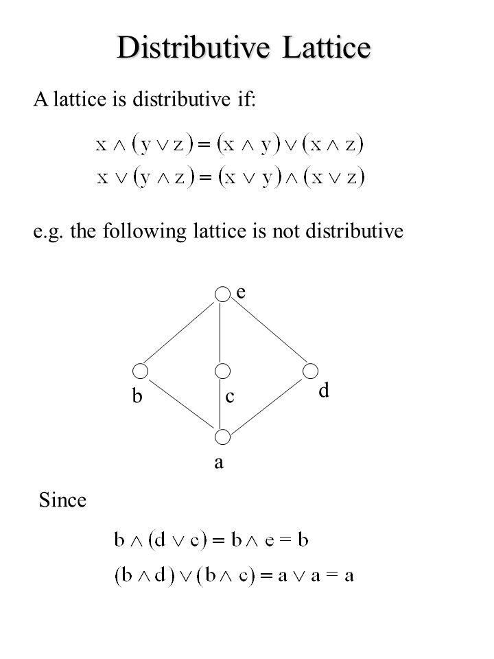Distributive Lattice A lattice is distributive if: