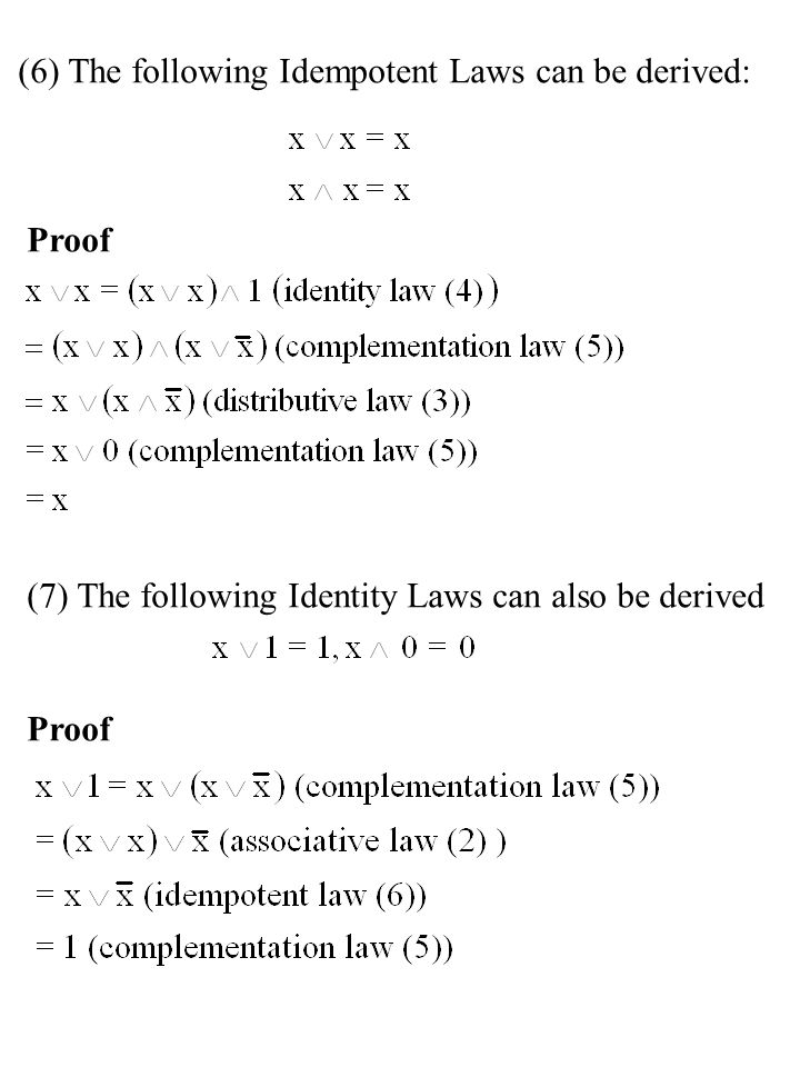 (6) The following Idempotent Laws can be derived: