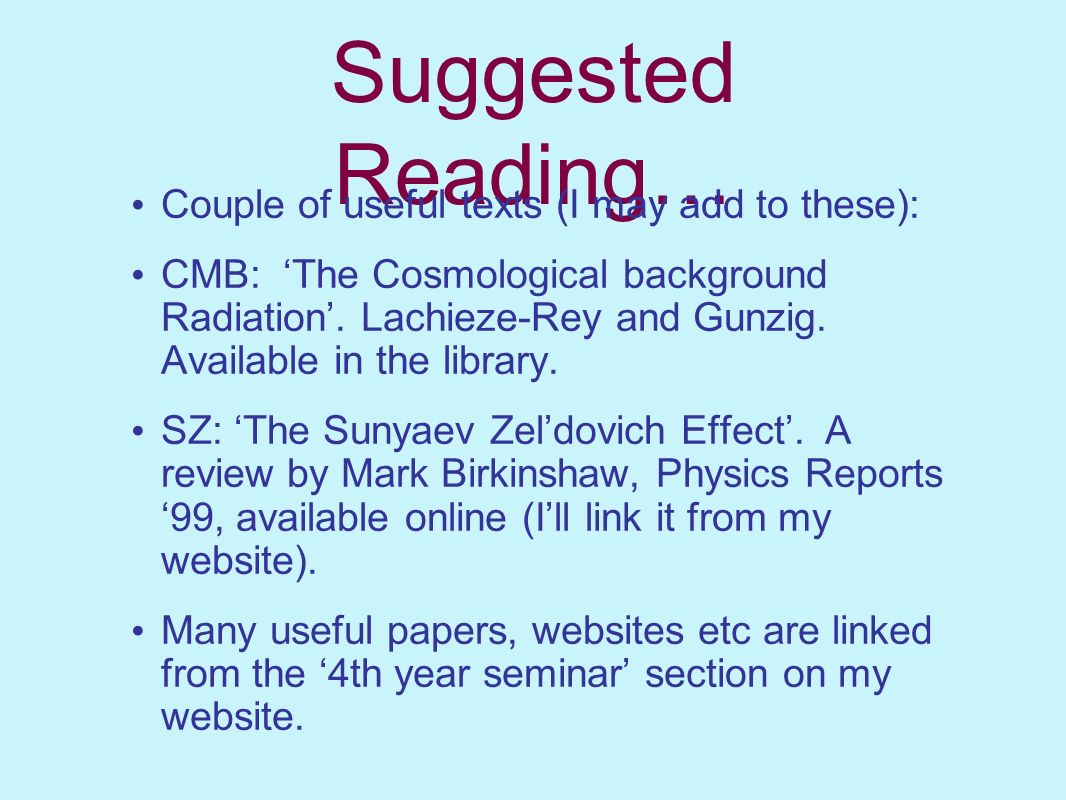 Suggested Reading… Couple of useful texts (I may add to these):