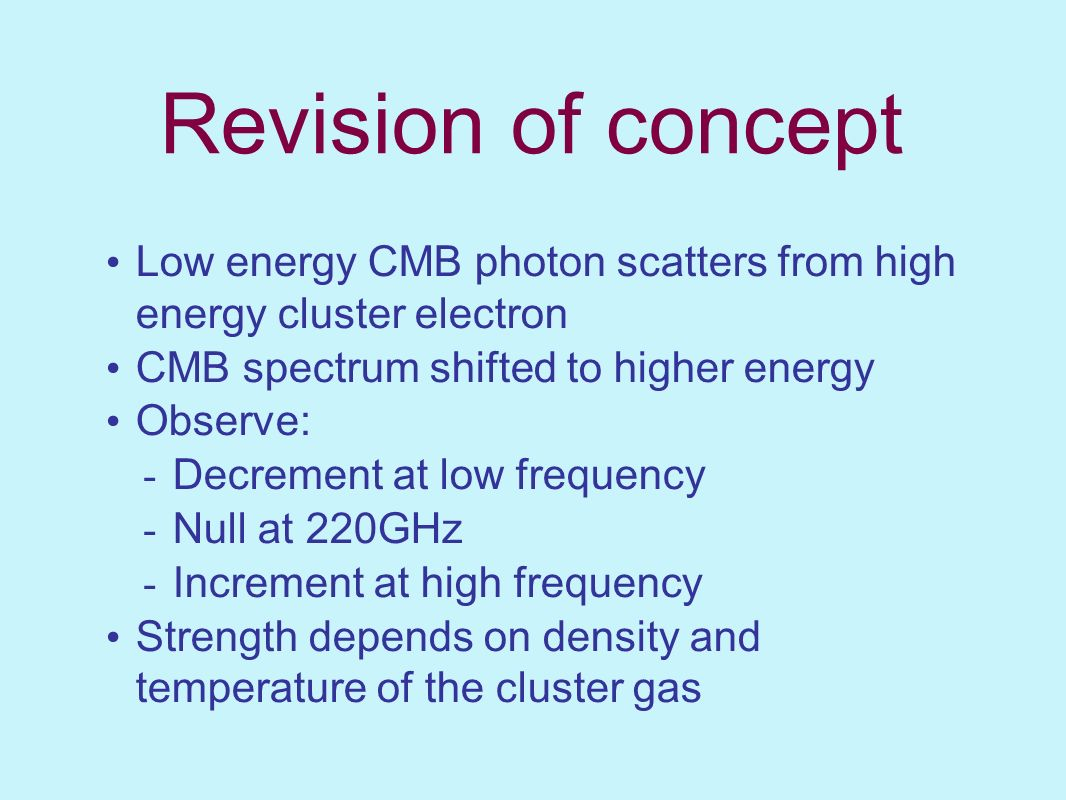 Revision of concept Low energy CMB photon scatters from high energy cluster electron. CMB spectrum shifted to higher energy.