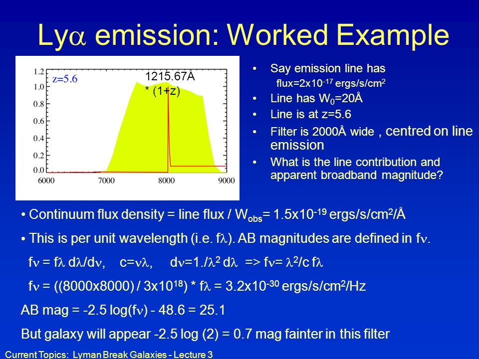 Ly emission: Worked Example
