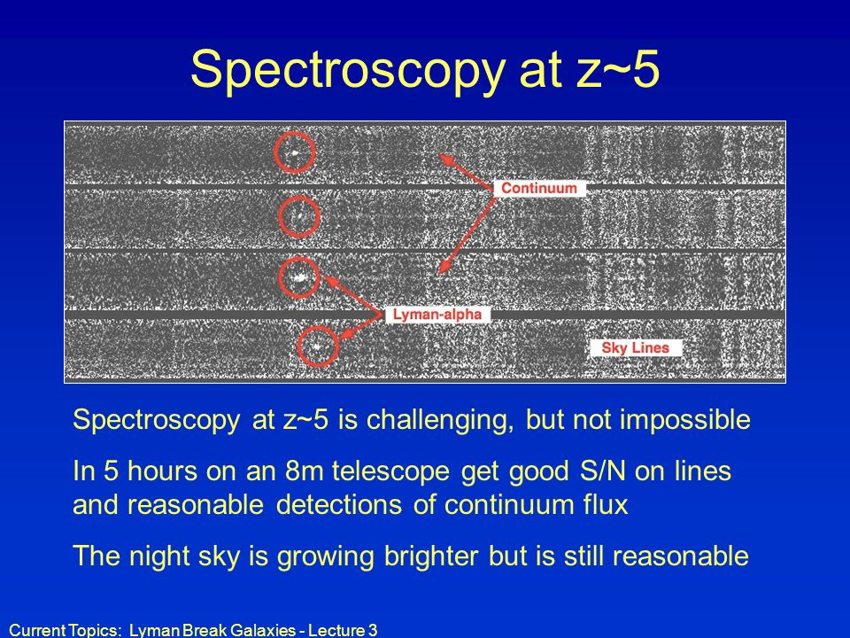 Spectroscopy at z~5 Spectroscopy at z~5 is challenging, but not impossible.