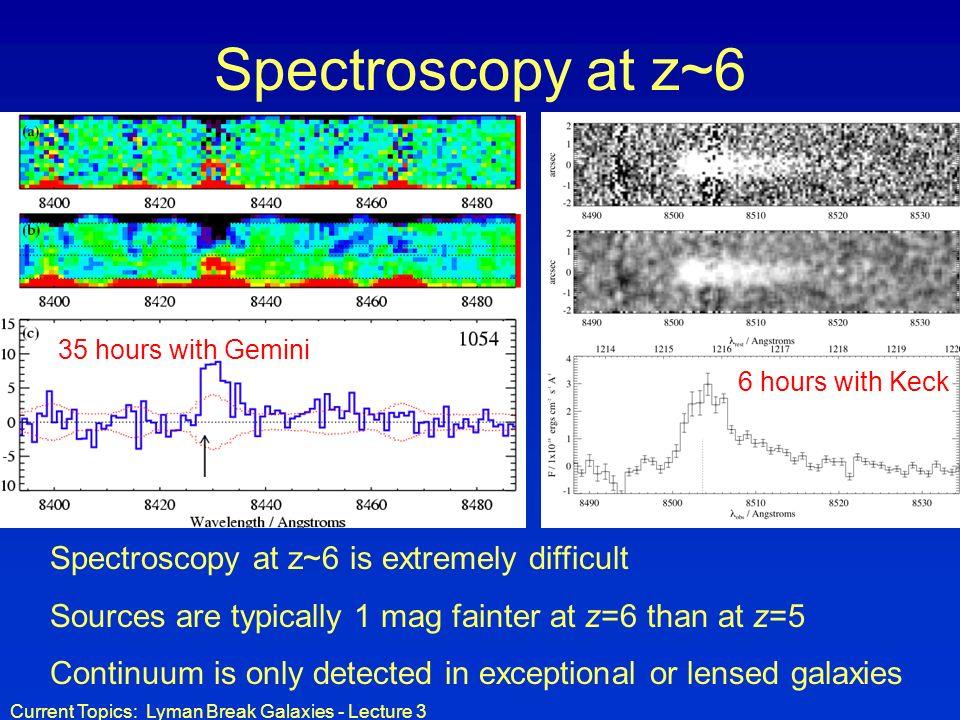 Spectroscopy at z~6 Spectroscopy at z~6 is extremely difficult