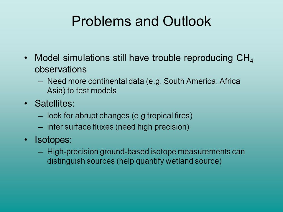 Problems and Outlook Model simulations still have trouble reproducing CH4 observations.